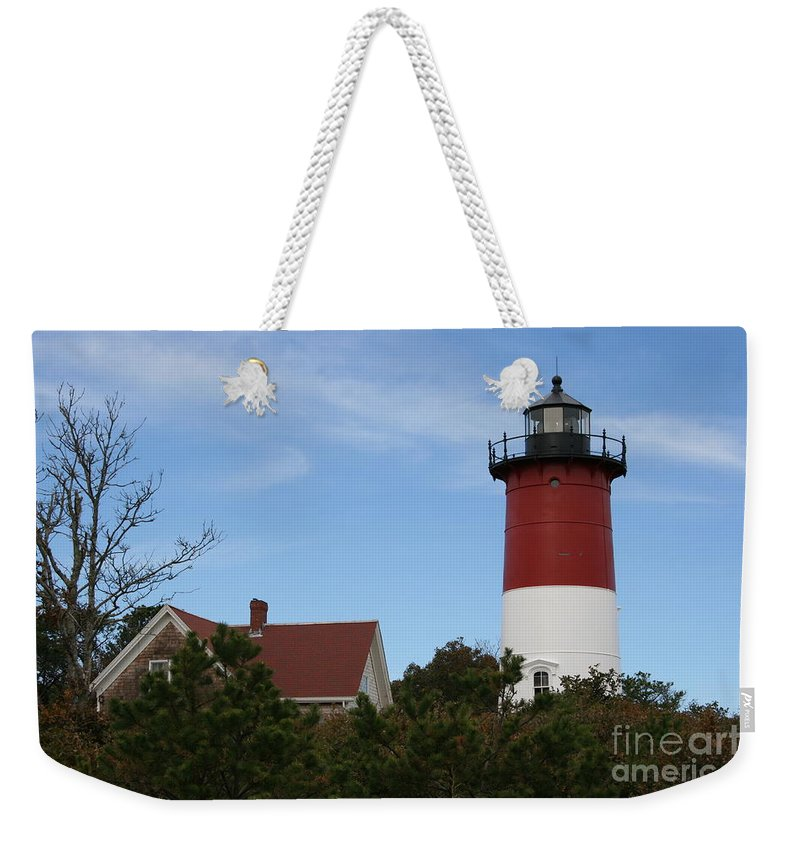 Lighthouse Weekender Tote Bag featuring the photograph Nauset Beach Light by Christiane Schulze Art And Photography