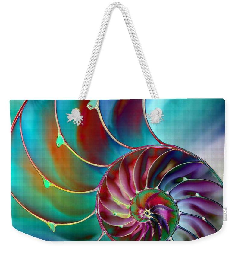 Abstract Weekender Tote Bag featuring the digital art Nautilus by Klara Acel