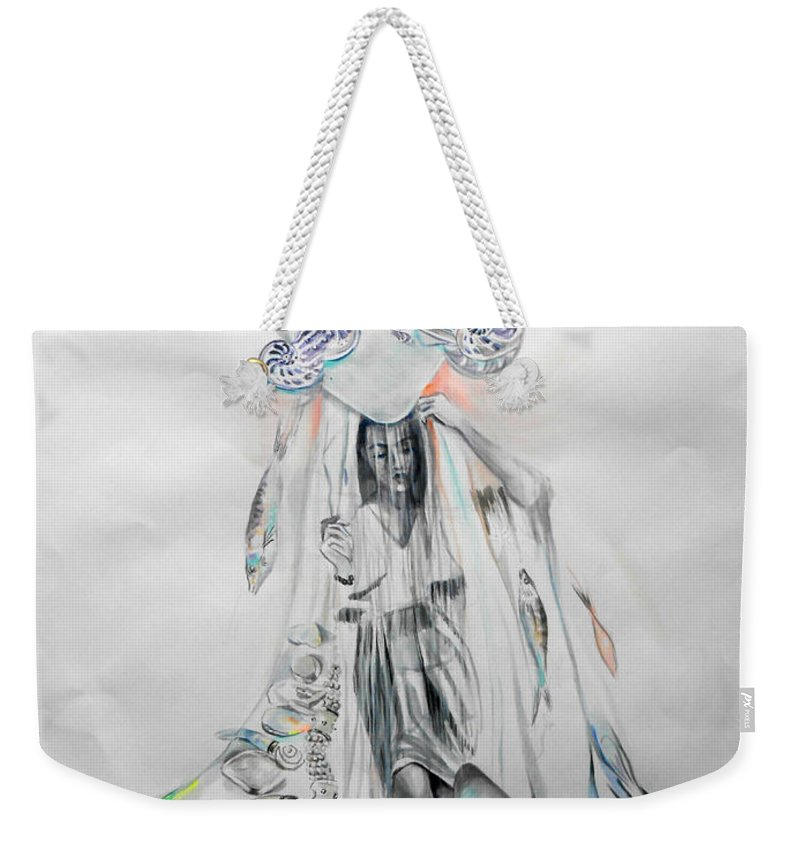 Nautilus Weekender Tote Bag featuring the painting Nautilus by Lucia Hoogervorst