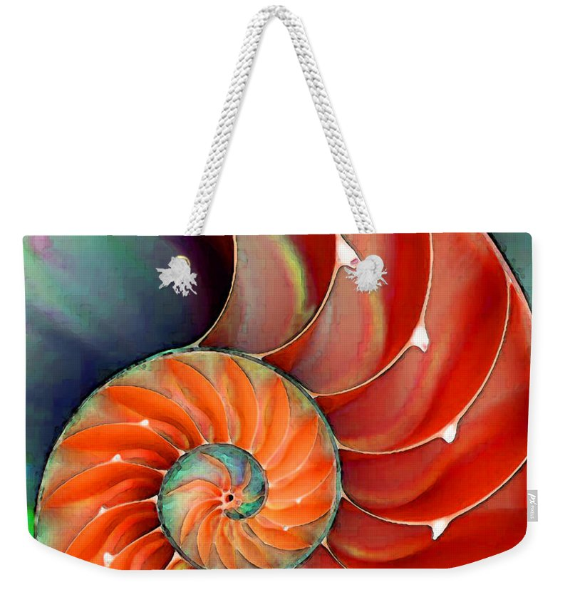 Nautilus Weekender Tote Bag featuring the painting Nautilus Shell - Nature's Perfection by Sharon Cummings