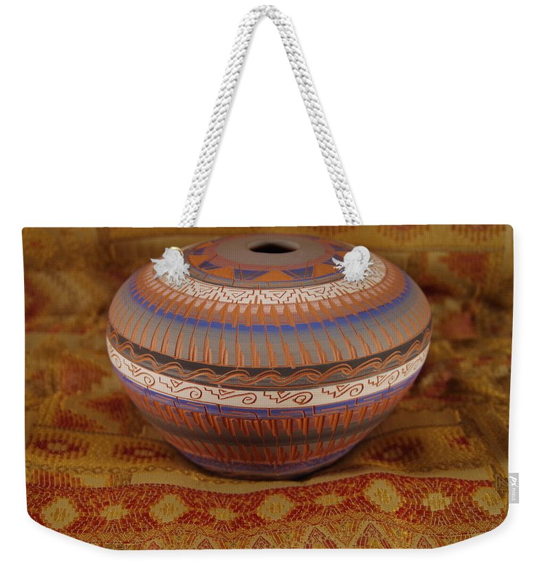 Southwestern Pot Weekender Tote Bag featuring the photograph Navajo Bowl by Mike Wheeler