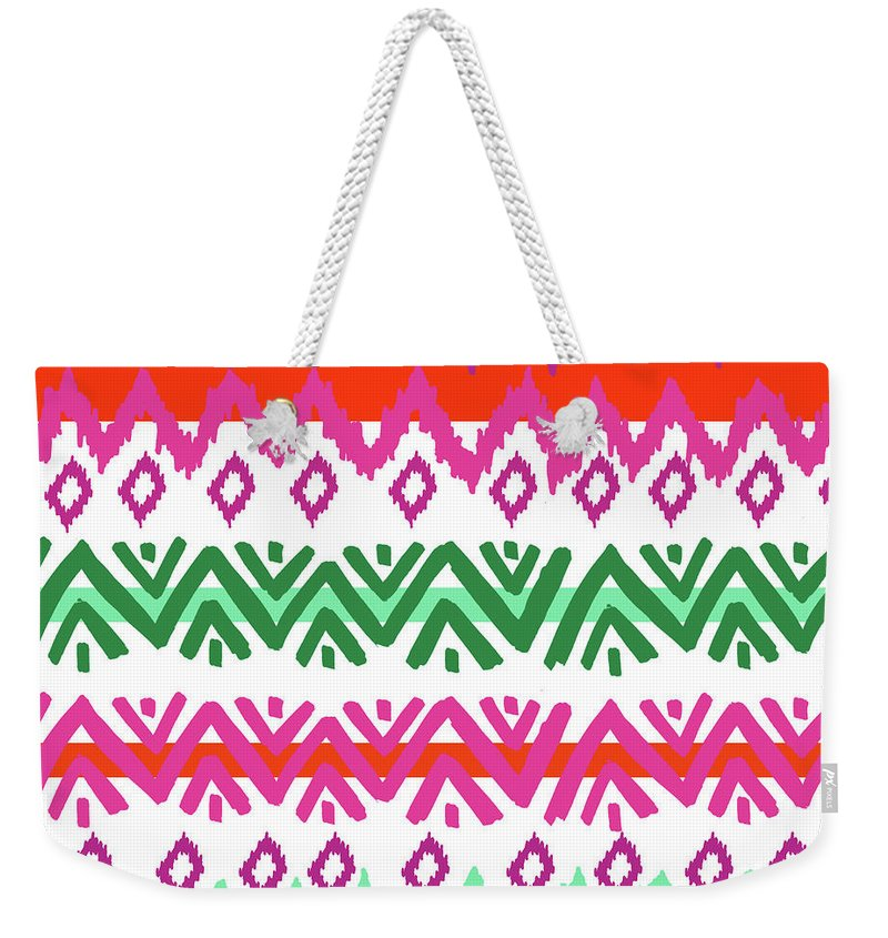 Southwest Weekender Tote Bag featuring the digital art Navajo Mission Round by Nicholas Biscardi