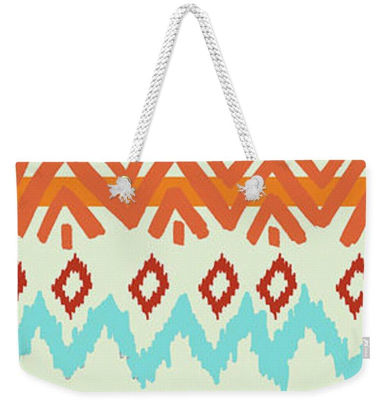 Navajo Weekender Tote Bag featuring the digital art Southwest Pattern I by Nicholas Biscardi