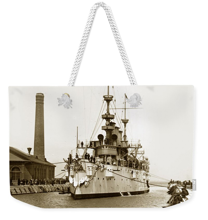 Navy Weekender Tote Bag featuring the photograph Navy Cruiser Uss New York Going Into Dry Dock San Francisco Circa 1903 by California Views Archives Mr Pat Hathaway Archives