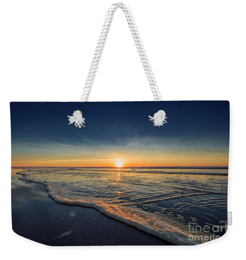 Sunset Photography Print Weekender Tote Bag featuring the photograph Navy Sunset by Lucid Mood