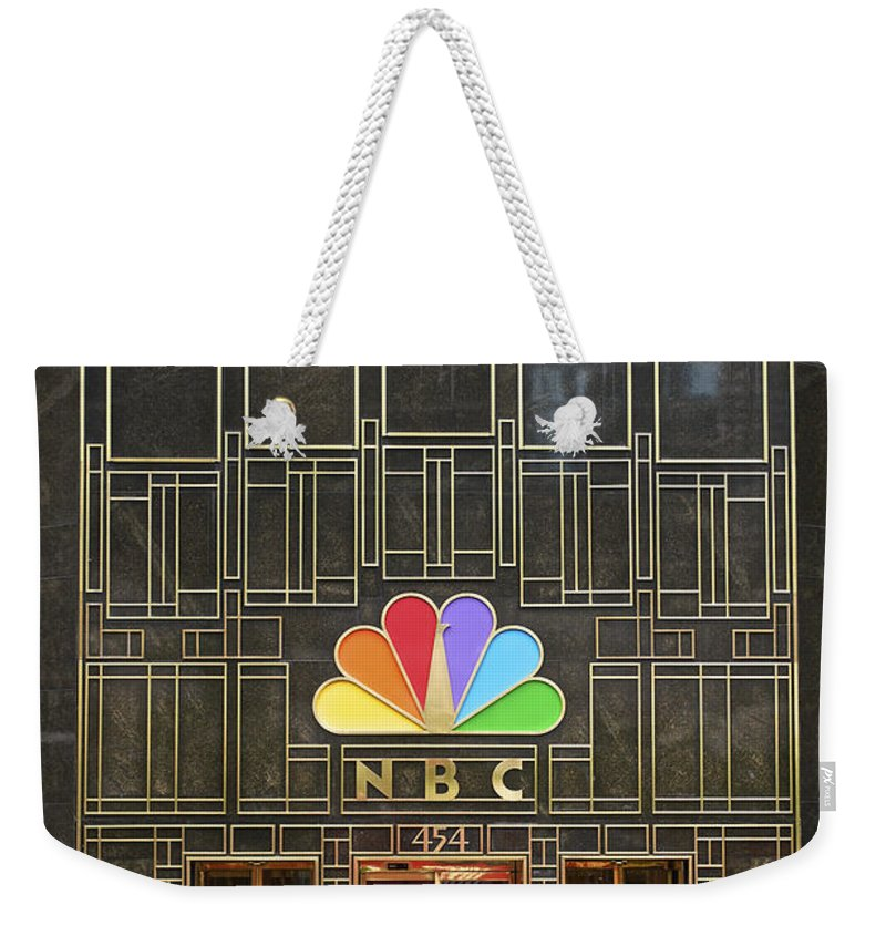Chicago Weekender Tote Bag featuring the photograph Nbc Facade Vertical by Thomas Woolworth