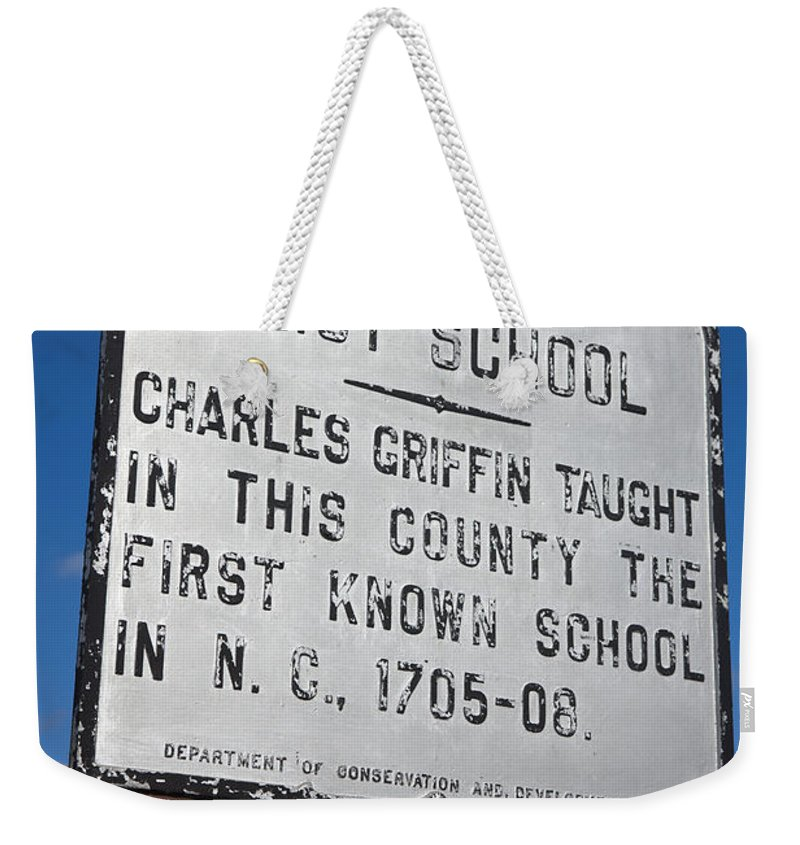 First School Weekender Tote Bag featuring the photograph Nc-a14 First School by Jason O Watson