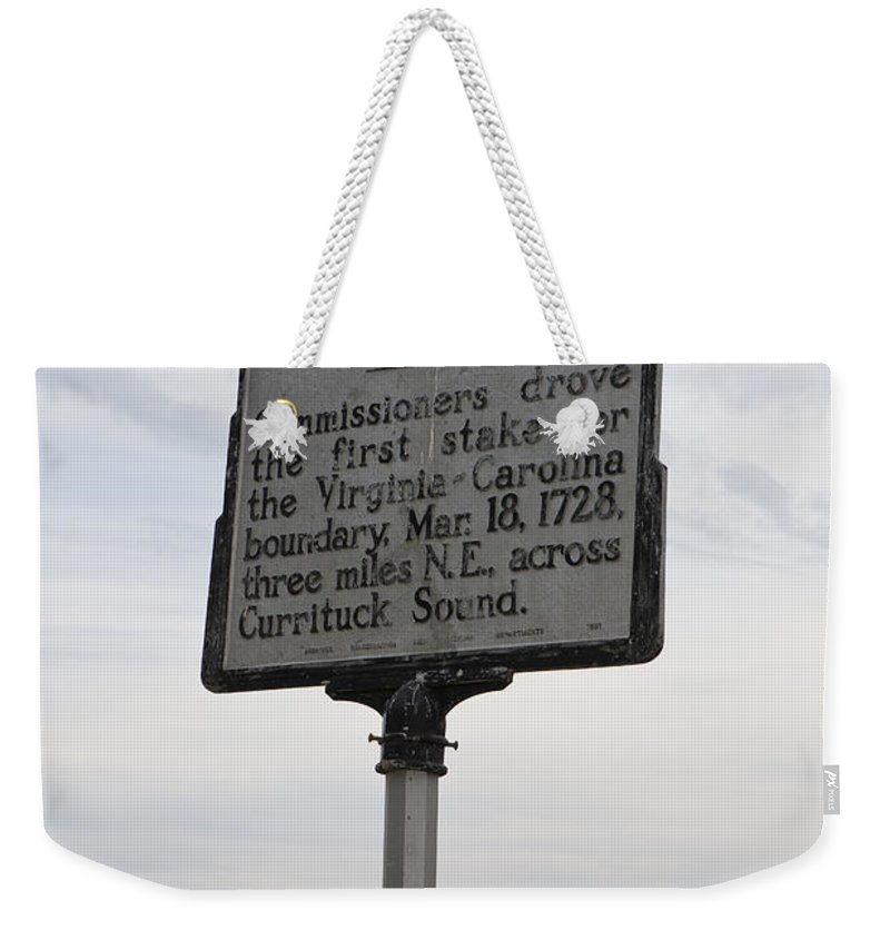 Dividing Line Weekender Tote Bag featuring the photograph Nc-a15 Dividing Line by Jason O Watson