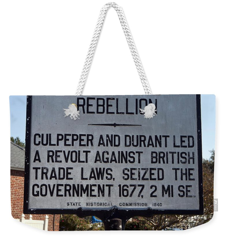 Culpeper's Rebellion Weekender Tote Bag featuring the photograph Nc-a21 Culpepers Rebellion by Jason O Watson