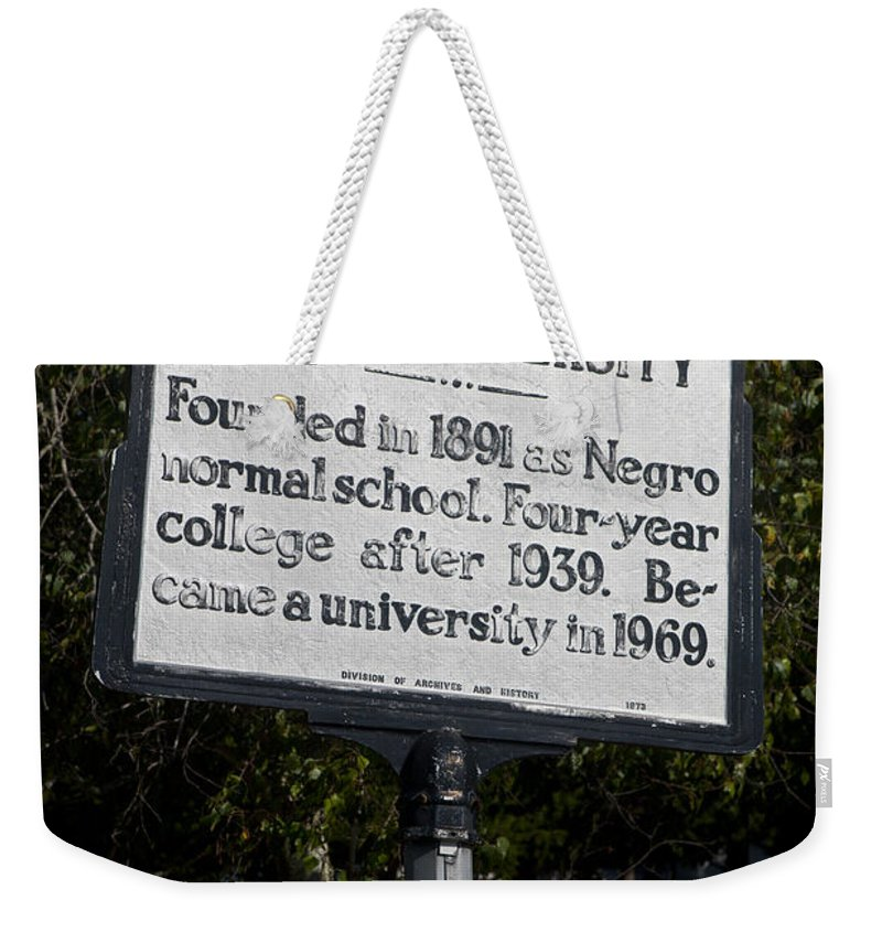 Elizabeth City State University Weekender Tote Bag featuring the photograph Nc-a37 Elizabeth City State University by Jason O Watson