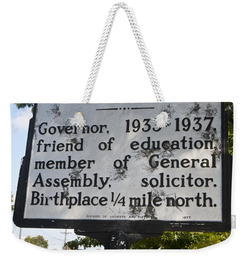 J.c.b. Ehringhaus Weekender Tote Bag featuring the photograph Nc-a39 J.c.b. Ehringhaus by Jason O Watson
