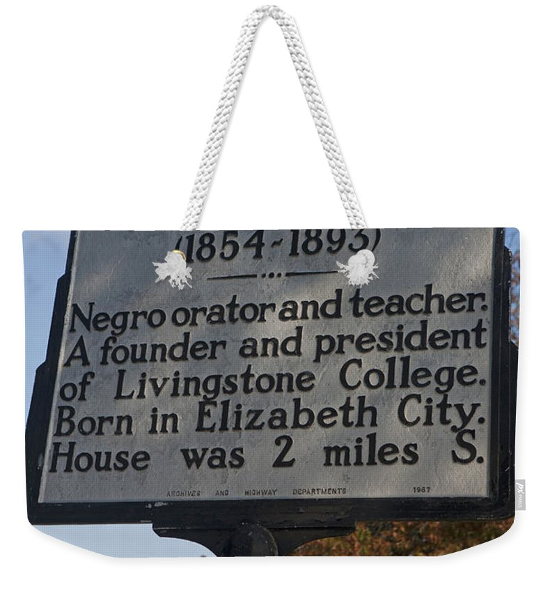 Joseph C. Price Weekender Tote Bag featuring the photograph Nc-a61 Joseph C. Price 1854-1893 by Jason O Watson