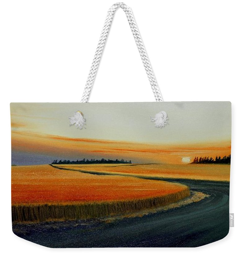 Wheat Weekender Tote Bag featuring the painting Near Moscow by Leonard Heid