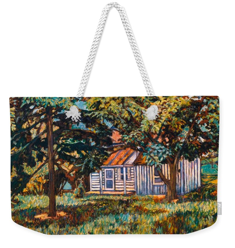 Architecture Weekender Tote Bag featuring the painting Near The Tech Duck Pond by Kendall Kessler