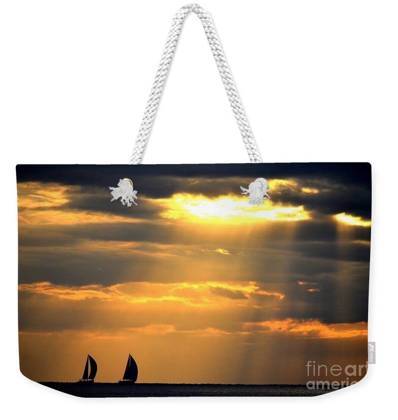 Boats Weekender Tote Bag featuring the photograph Nearly Home For The Night by Alfie Borg