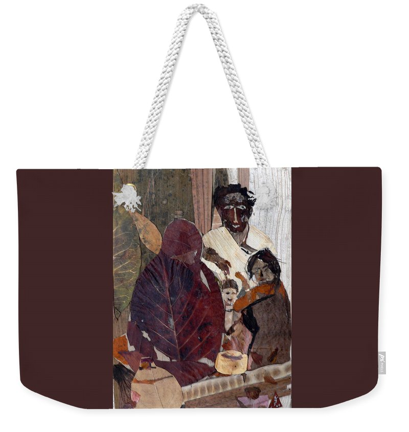 Group Portrait Weekender Tote Bag featuring the mixed media Needy Family by Basant Soni