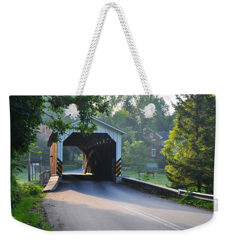 Neff's Weekender Tote Bag featuring the photograph Neff's Mill Covered Bridge Lancaster County by Bill Cannon