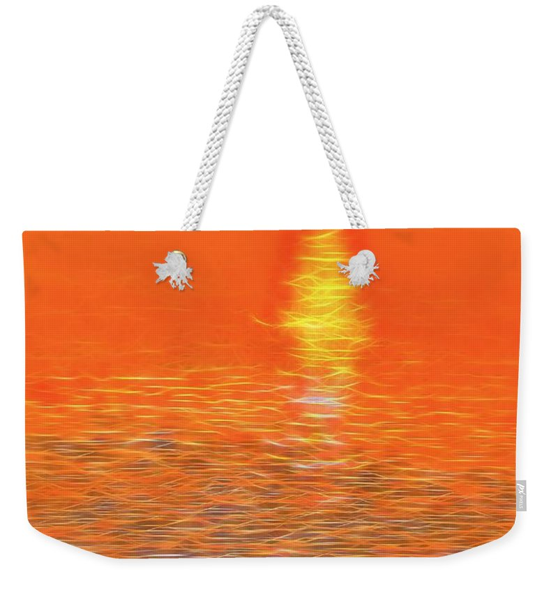Neon Beach Sunset Weekender Tote Bag featuring the digital art Neon Beach Sunset by Dan Sproul