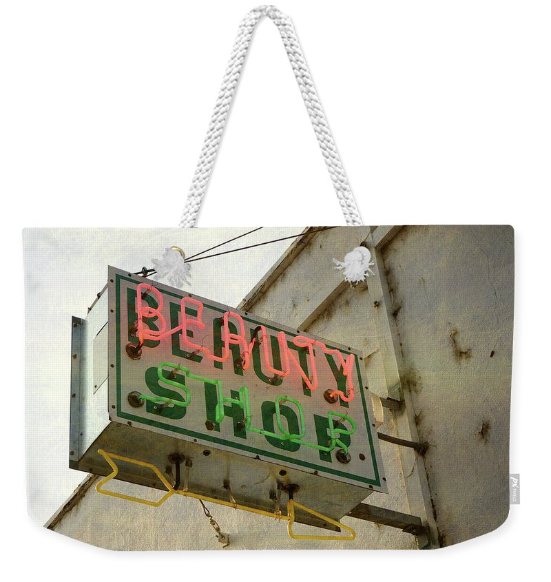 Pole Weekender Tote Bag featuring the photograph Neon Beauty Shop Sign by Smodj