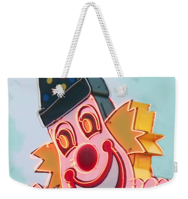 Neon Weekender Tote Bag featuring the painting Neon Clown by Eric Schiabor