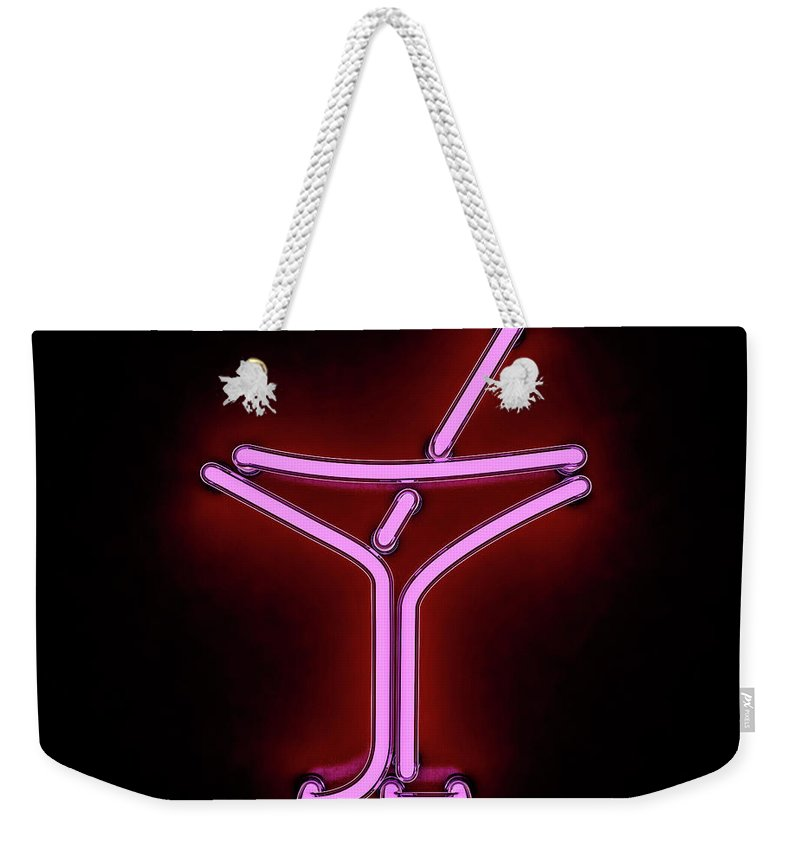 Empty Weekender Tote Bag featuring the photograph Neon Cocktail City Sign Signboard. 3d by Polesnoy