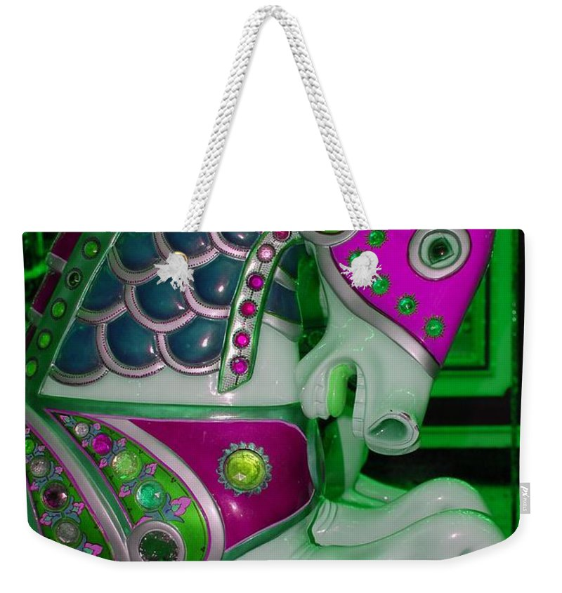 Carousel Weekender Tote Bag featuring the digital art Neon Green Carousel Horse by Patty Vicknair