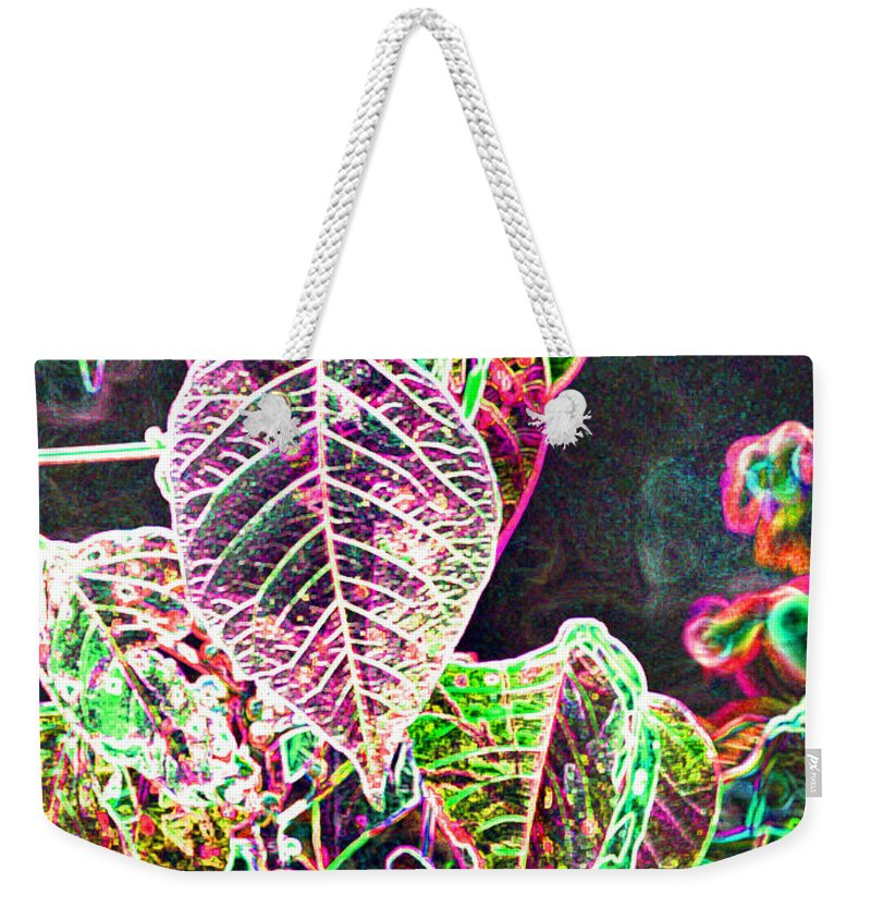Flowers Weekender Tote Bag featuring the photograph Neon Lights by Heather Coen