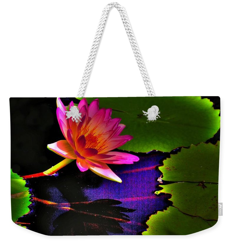Flower Weekender Tote Bag featuring the photograph Neon Lily by John Absher