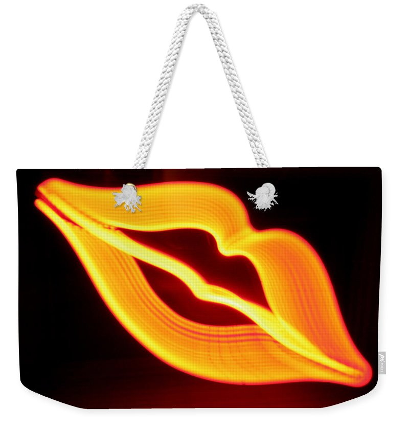Decorator Art Weekender Tote Bag featuring the photograph Neon Lips by Ric Bascobert
