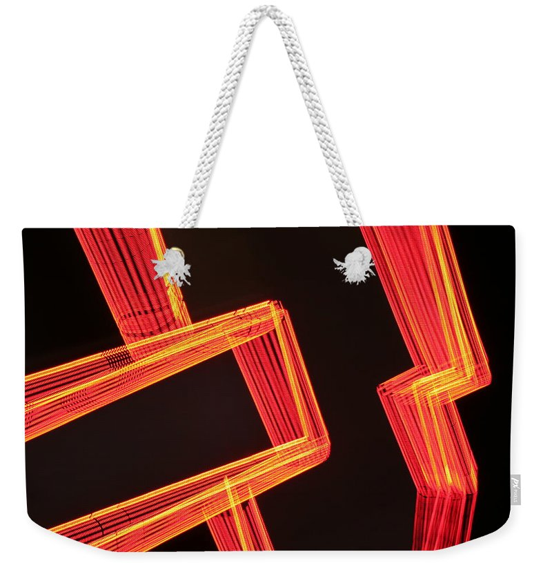 Neon Weekender Tote Bag featuring the photograph Neon Maze by Ric Bascobert