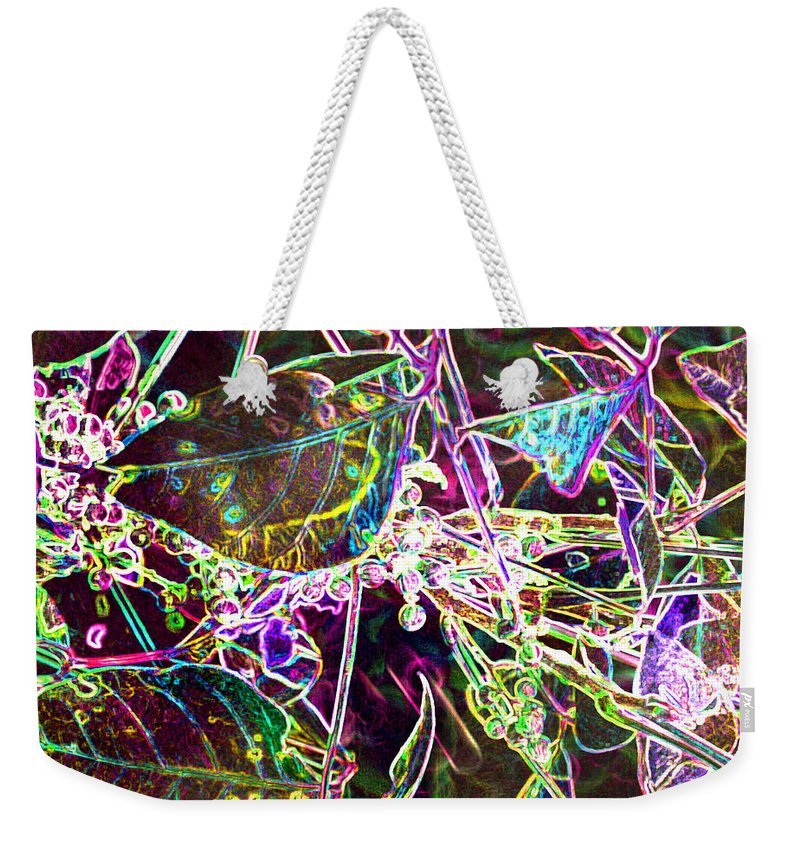 Abstract Weekender Tote Bag featuring the photograph Neon Pearls by Heather Coen