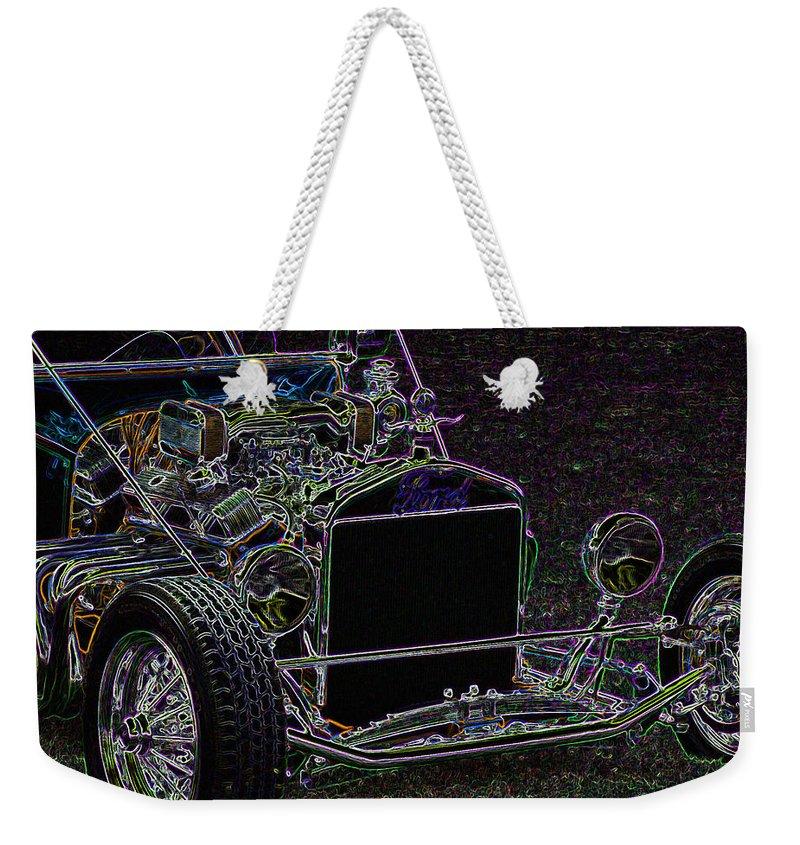 Ford Roadster Weekender Tote Bag featuring the digital art Neon Roadster by Ernie Echols