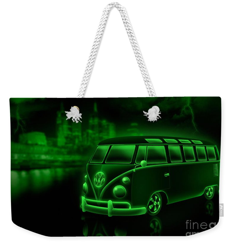 Volkswagen Weekender Tote Bag featuring the digital art Neon Splitty by Linton Hart