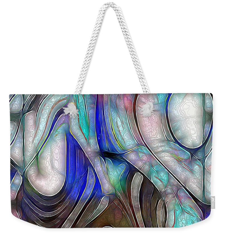 Abstract Weekender Tote Bag featuring the painting Nerve Center by RC DeWinter