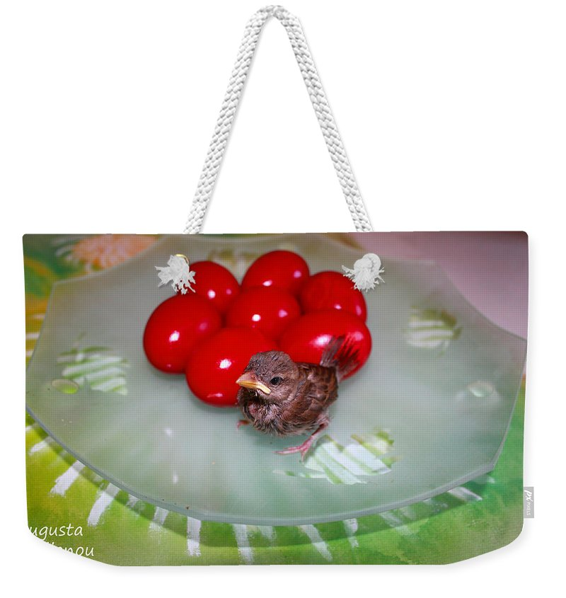 Augusta Stylianou Weekender Tote Bag featuring the photograph Nestling And Red Eggs by Augusta Stylianou