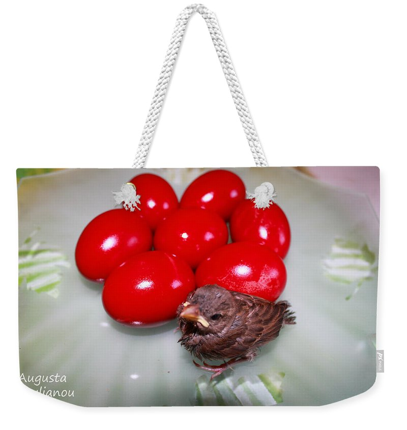 Augusta Stylianou Weekender Tote Bag featuring the photograph Nestling In A Plate by Augusta Stylianou