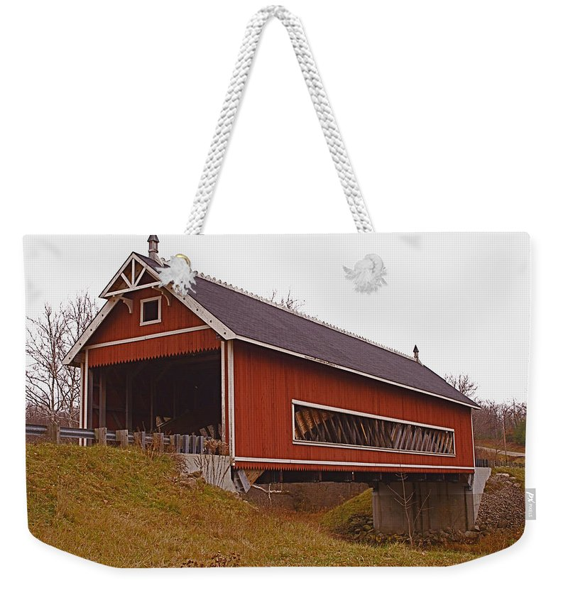 Ohio Weekender Tote Bag featuring the photograph Netcher Road Covered Bridge by Jack R Perry