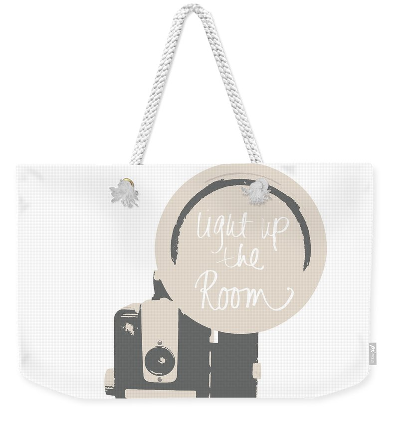 Neutral Weekender Tote Bag featuring the mixed media Neutral Glam Camera by South Social Studio