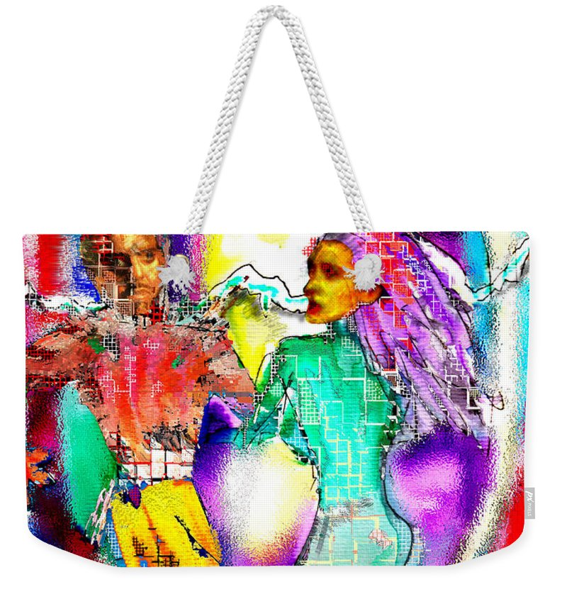 Neutron Weekender Tote Bag featuring the digital art Neutron Dance by Seth Weaver