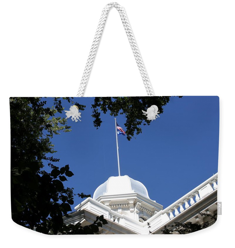 Nevada Weekender Tote Bag featuring the photograph Nevada State Capitol by Donna Jackson