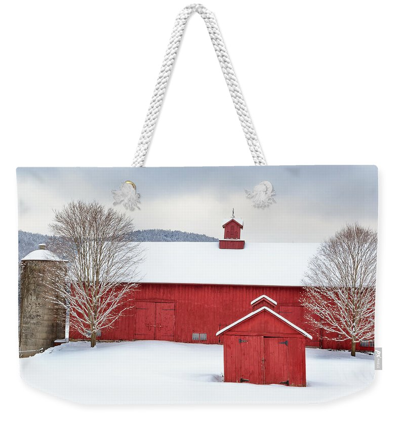 Square Weekender Tote Bag featuring the photograph New England Barns Square by Bill Wakeley