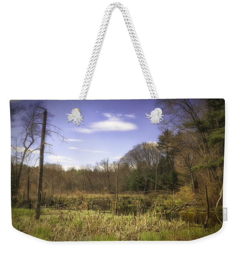 Wetland Weekender Tote Bag featuring the photograph New England Wetland by Fran Gallogly