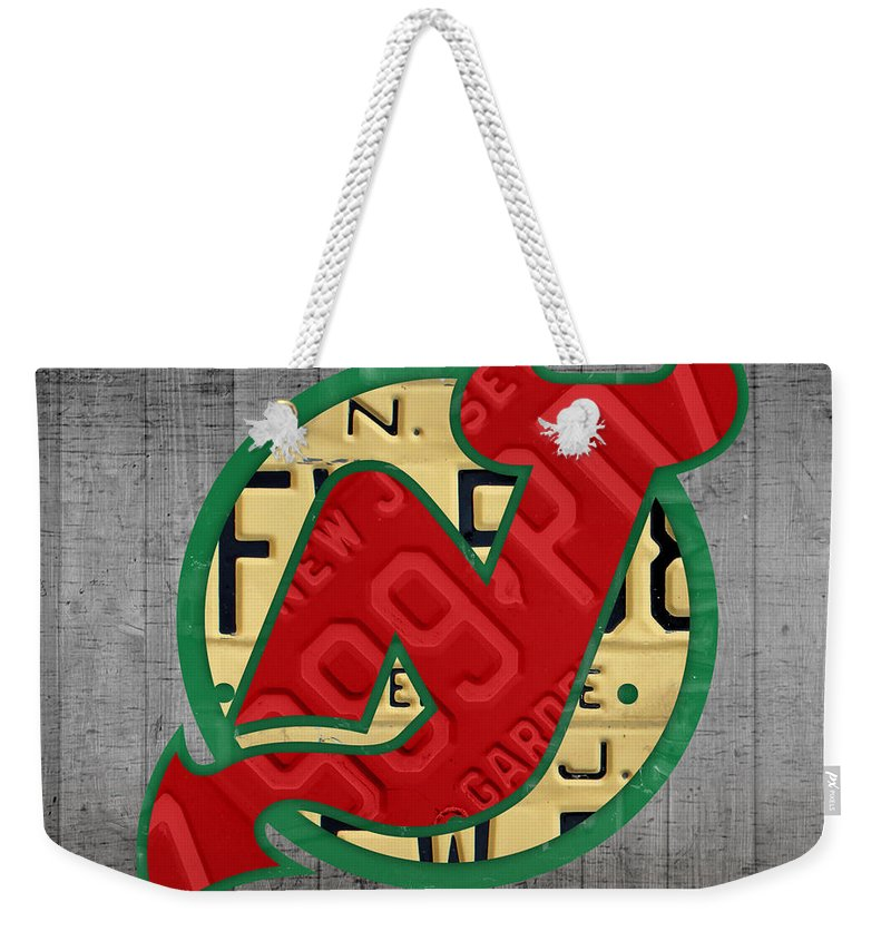 New Jersey Weekender Tote Bag featuring the mixed media New Jersey Devils Hockey  Team Retro Logo 2063521626a