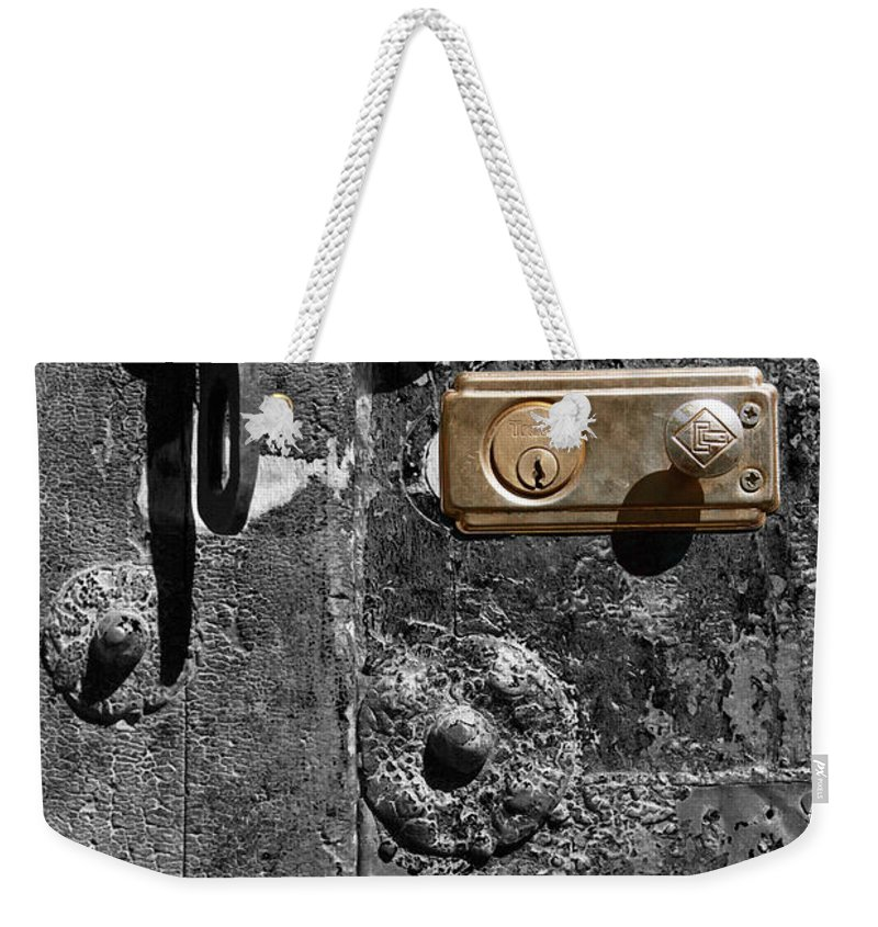 Door Weekender Tote Bag featuring the photograph New Lock On Old Door 1 by James Brunker