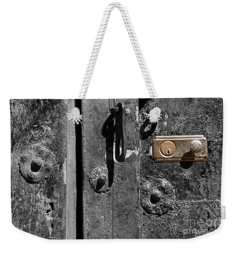 Still Life Weekender Tote Bag featuring the photograph New Lock On Old Door 2 by James Brunker
