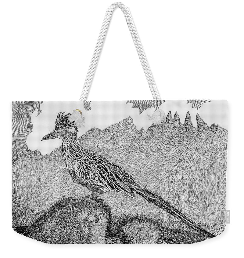 Organ Mountains-desert Peaks National Monument Weekender Tote Bag featuring the drawing New Mexico Roadrunner by Jack Pumphrey