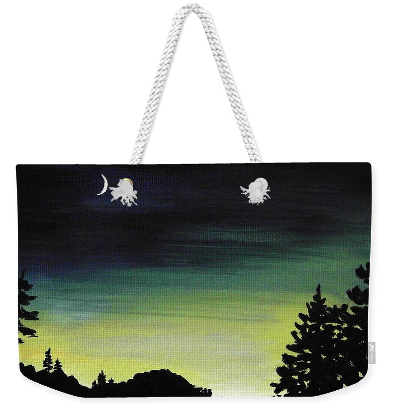 Moon Weekender Tote Bag featuring the painting New Moon by Anastasiya Malakhova