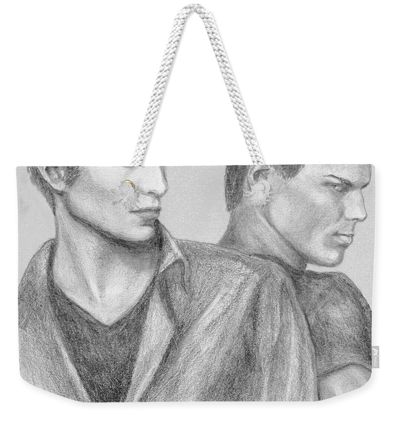 Edward Weekender Tote Bag featuring the drawing New Moon by Christine Jepsen
