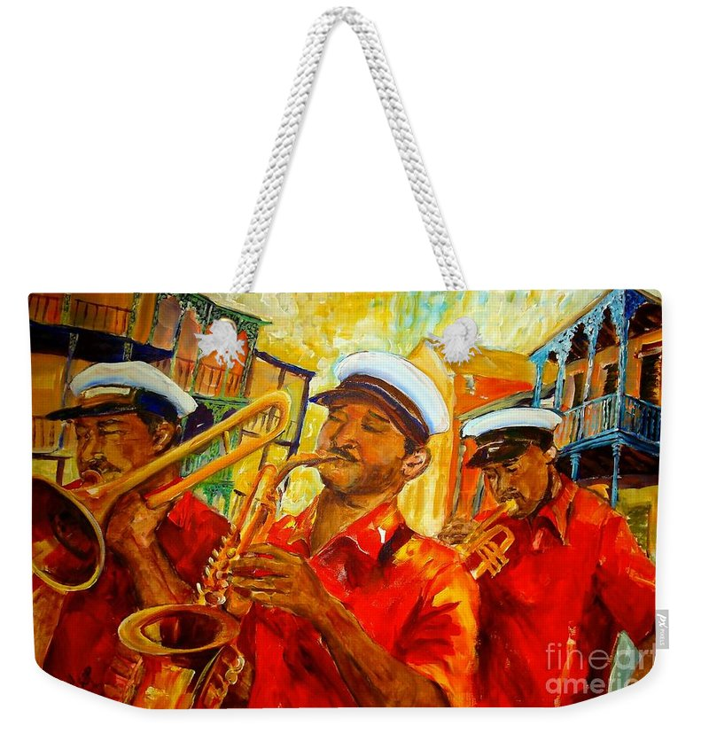 New Orleans Weekender Tote Bag featuring the painting New Orleans Brass Band by Diane Millsap