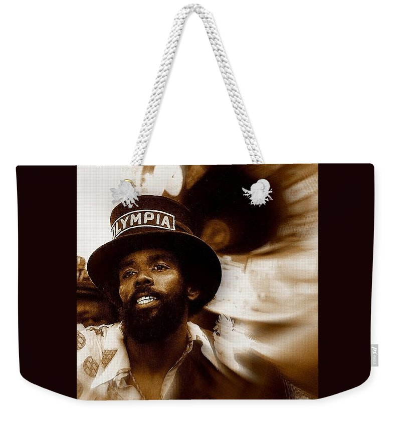 Nola Weekender Tote Bag featuring the photograph New Orleans Olympia Second Line Grand Marshall by Michael Hoard